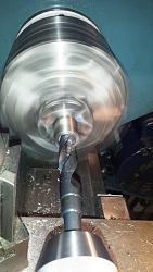 """20mm diameter Die Adapter for 1"""" Diameter Tailstock Die Holder-initial-drilling-20-mm-die-sleeve-before-boring.jpg"""