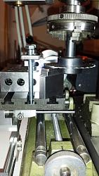Detail view of dial indicator adjustable holders for the Unimat-gage-blocks-provide-reference-height-above-milling-table.jpg