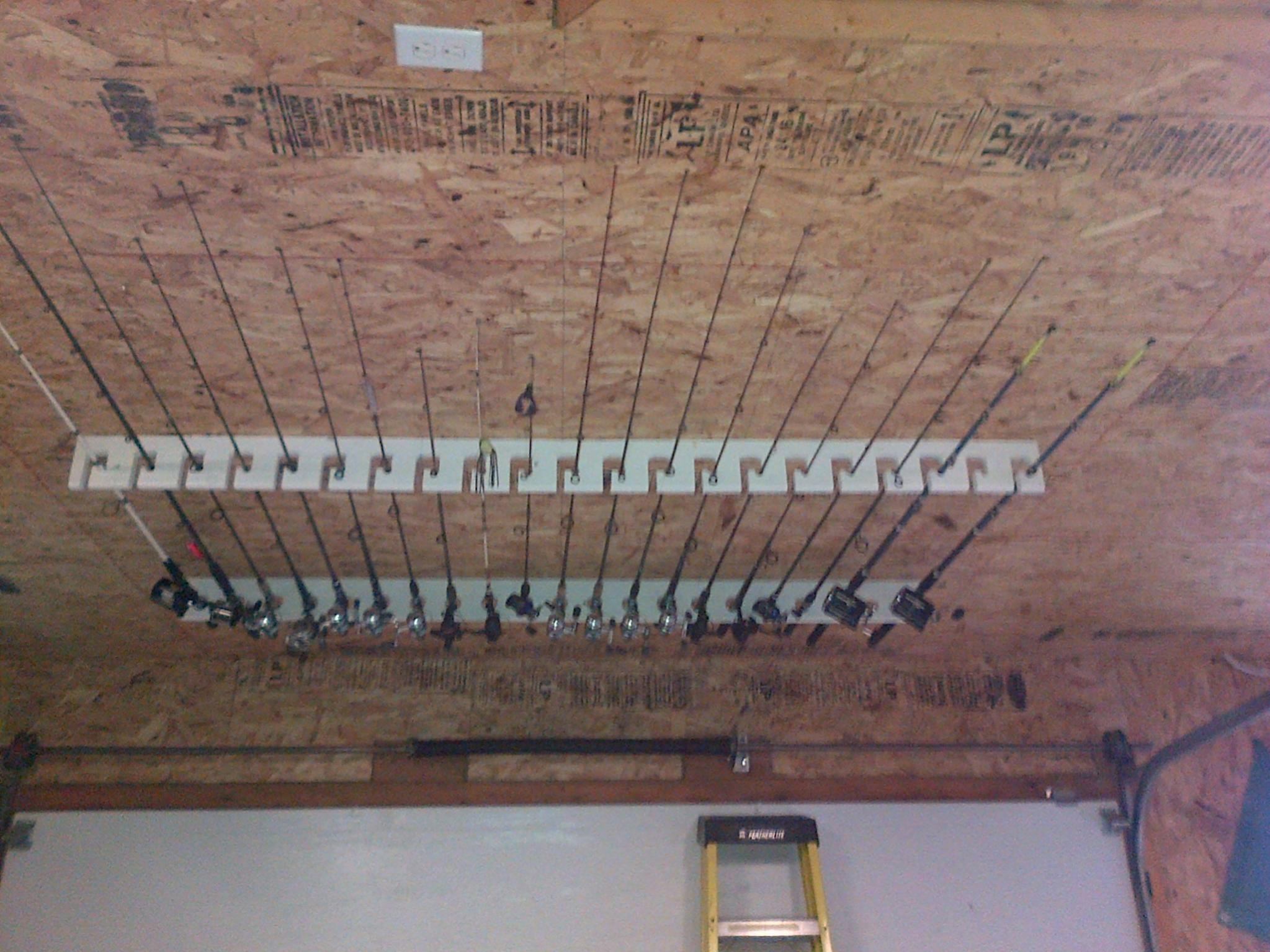 for holders rod ceilings garage rack fishing ceiling designs attachment