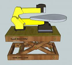 Scissor Bench- Motorized, Adjustable Height Workstation-scrollsaw-lift-standing-without-guides.jpg