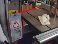 Bandsaw Warning Sign