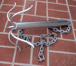 Homemade boat anchor for Mighty mite fishing rod