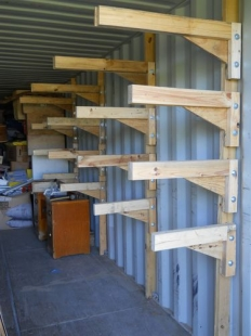 Cantilevered Shelving for Shipping Containers