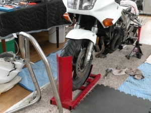 Homemade Motorcycle Front Wheel Stand