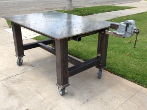 homemade fabrication table. Black Bedroom Furniture Sets. Home Design Ideas