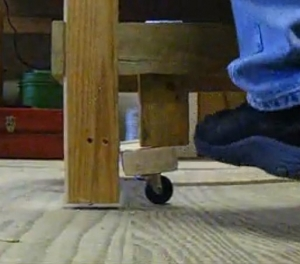 Homemade Retractable Wheels For A Worktable