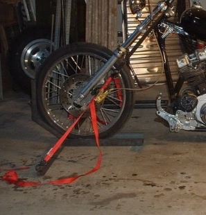 Homemade Motorcycle Wheel Chock and Tie Down