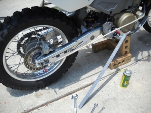 Motorcycle Chain Alignment Setup