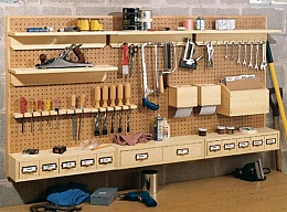 Homemade Pegboard Storage System