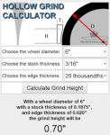 Hollow Grind Calculator