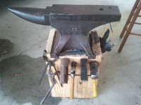 Wooden Plank Anvil Stand