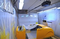 Plastic-Sheeted Paint Booth