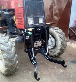 Homemade 3-point tractor linkage constructed from steel plate and